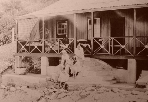 Una & Peggy laughing on the steps at North Cottage, from Herbie North's album