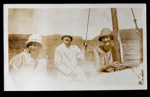 John W. Newdigate album - sailing on the Knysna Estuary (Una on right)
